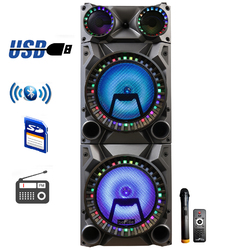 Category: Dropship Sound, SKU #BFS-9160-RB, Title: beFree Sound Rechargeable Bluetooth 12inch Double Subwoofer Portable Party Speaker with Dual Layer Reactive Party Lights, USB, SD and AUX Inputs with FM Radio