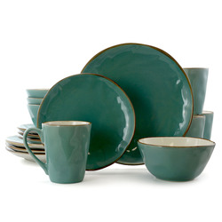 Category: Dropship Dinnerware Sets 18pc Plus, SKU #EL-CARIBBEANTIDE16, Title: Elama Caribean Tide 16 Piece Luxurious Stoneware Dinnerware with Complete Setting for 4