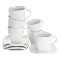 Category: Dropship Cups, SKU #EL-MARKETSQUARE, Title: Elama Market Square 12 Piece 10 Ounce Porcelain Cup and Saucer Set in White