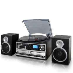 Category: Dropship Gifts, SKU #TRX-68B-RB, Title: Trexonic 3-Speed Turntable With CD Player, CD Recorder, Cassette Player, Wired Shelf Speakers, FM Radio & CD/USB/SD Recording