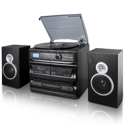 Category: Dropship Gifts, SKU #TRX-811BS-RB, Title: Trexonic 3-Speed Turntable With CD Player, Dual Cassette Player, BT, FM Radio & USB/SD Recording and Wired Shelf Speakers