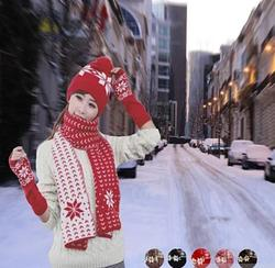 Category: Dropship Bundle, SKU #3141080197, Title: Snow Angel 3 pc XMas Set of Scarf, Hat And Gloves In 2 Tones