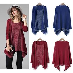 Category: Dropship Blouse, SKU #7783709648, Title: What A Pair Top And Cardi Melange Combo In Plus Sizes Too
