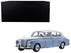 Category: Dropship Die Cast Model Cars And Trucks, SKU #08905LBS, Title: Rolls Royce Phantom VI Light Blue with Silver Top 1/18 Diecast Model Car by Kyosho