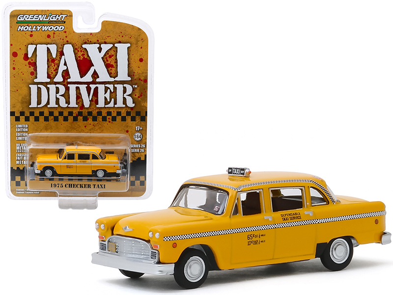 """1975 Checker Taxicab Yellow (Travis Bickle's) """"Taxi Driver"""" (1976) Movie """"Hollywood Series"""" Release 26 1/64 Diecast Model Car by Greenlight"""