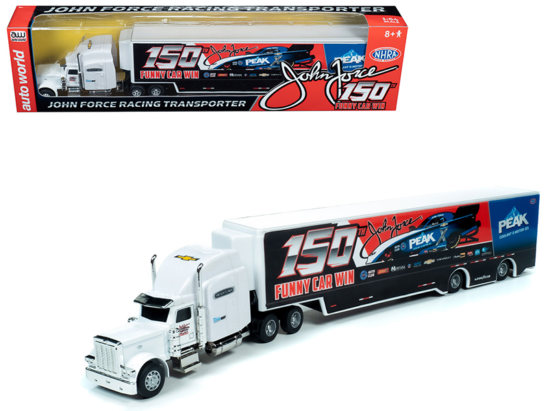 """2019 Freightliner with Trailer """"John Force 150th Funny Car Win"""" Transporter 1/64 Diecast Model by Autoworld"""