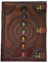 Category: Dropship Occult & Magical, SKU #BBBL612, Title: 7 Stone leather blank book w/ 3 latch