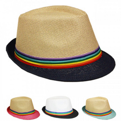 Category: Dropship Dollardays, SKU #1875510, Title: Two Color Fedora Hat with Rainbow Ribbon