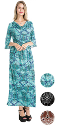 Category: Dropship Dollardays, SKU #2315813, Title: Case of [72] Women's Bell Sleeve Maxi Dresses - Paisley Prints
