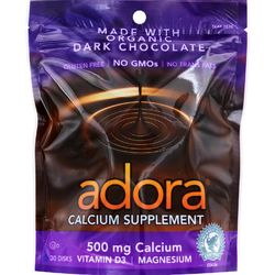 Category: Dropship Vitamins & Supplements, SKU #1584853, Title: Adora Calcium Supplement Disk - Organic - Dark Chocolate - 30 ct - 1 Case