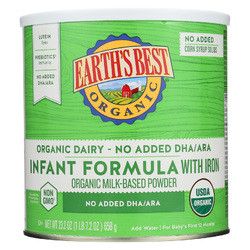Category: Dropship Baby, SKU #2032431, Title: Earth's Best Infant Formula - Organic - Iron - Case of 4 - 23.2 oz