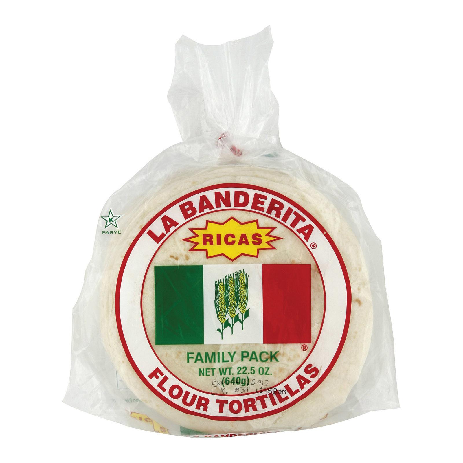 La Banderita Flour Tortillas - Rica's - Case of 12 - 22.5 oz.