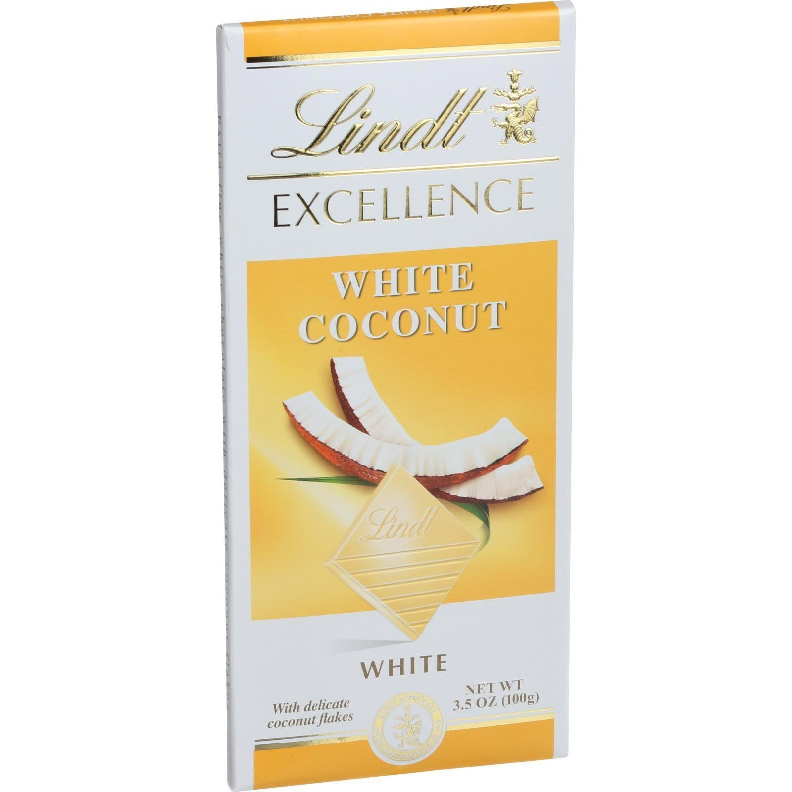 Lindt Chocolate Bar - White Chocolate - Coconut - 3.5 oz Bars - Case of 12