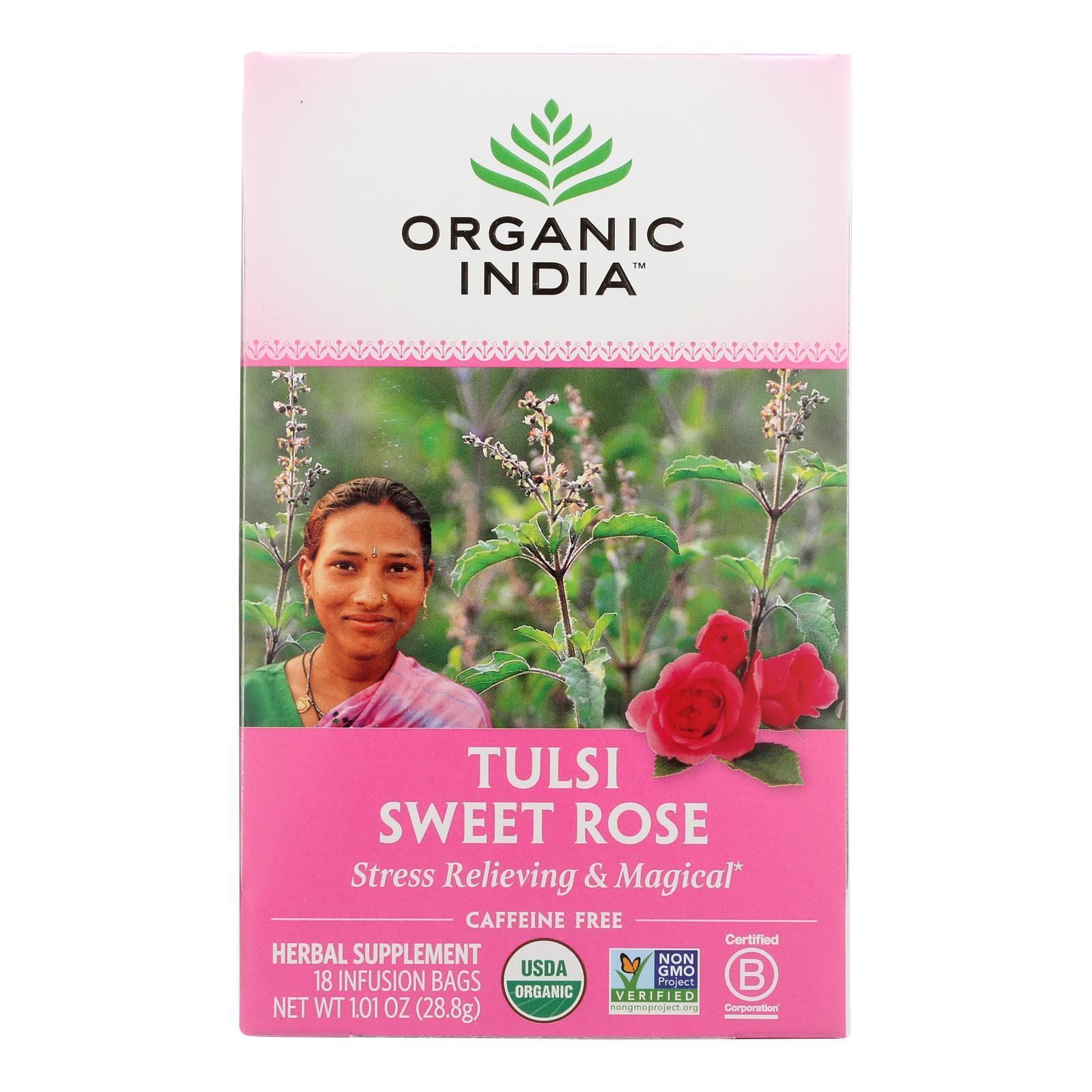Organic India Tulsi Tea Sweet Rose - 18 Tea Bags - Case of 6