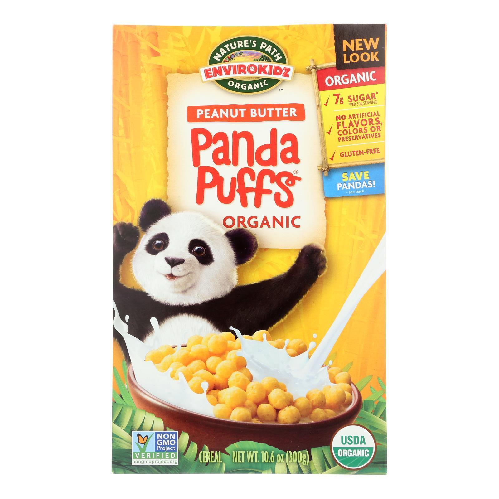 Envirokidz Organic Panda Puffs - Peanut Butter - Case of 12 - 10.6 oz.