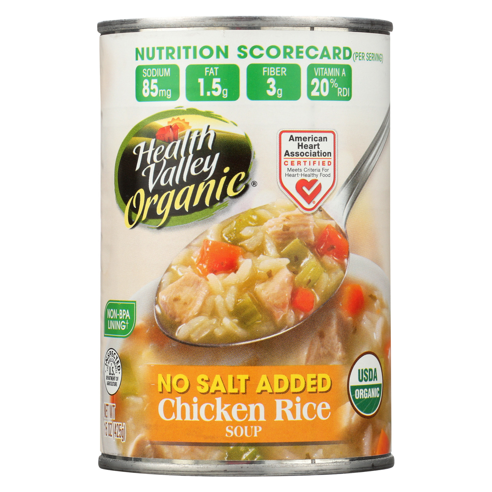 Health Valley Organic Soup - Chicken Rice, No Salt Added - Case of 12 - 15 oz.