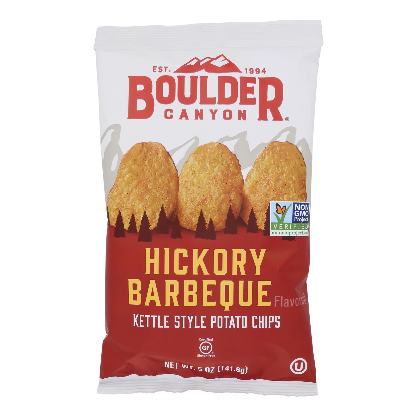 Boulder Canyon Natural Foods Kettle Chips - Hickory Barbeque - Case of 12 - 5 oz.
