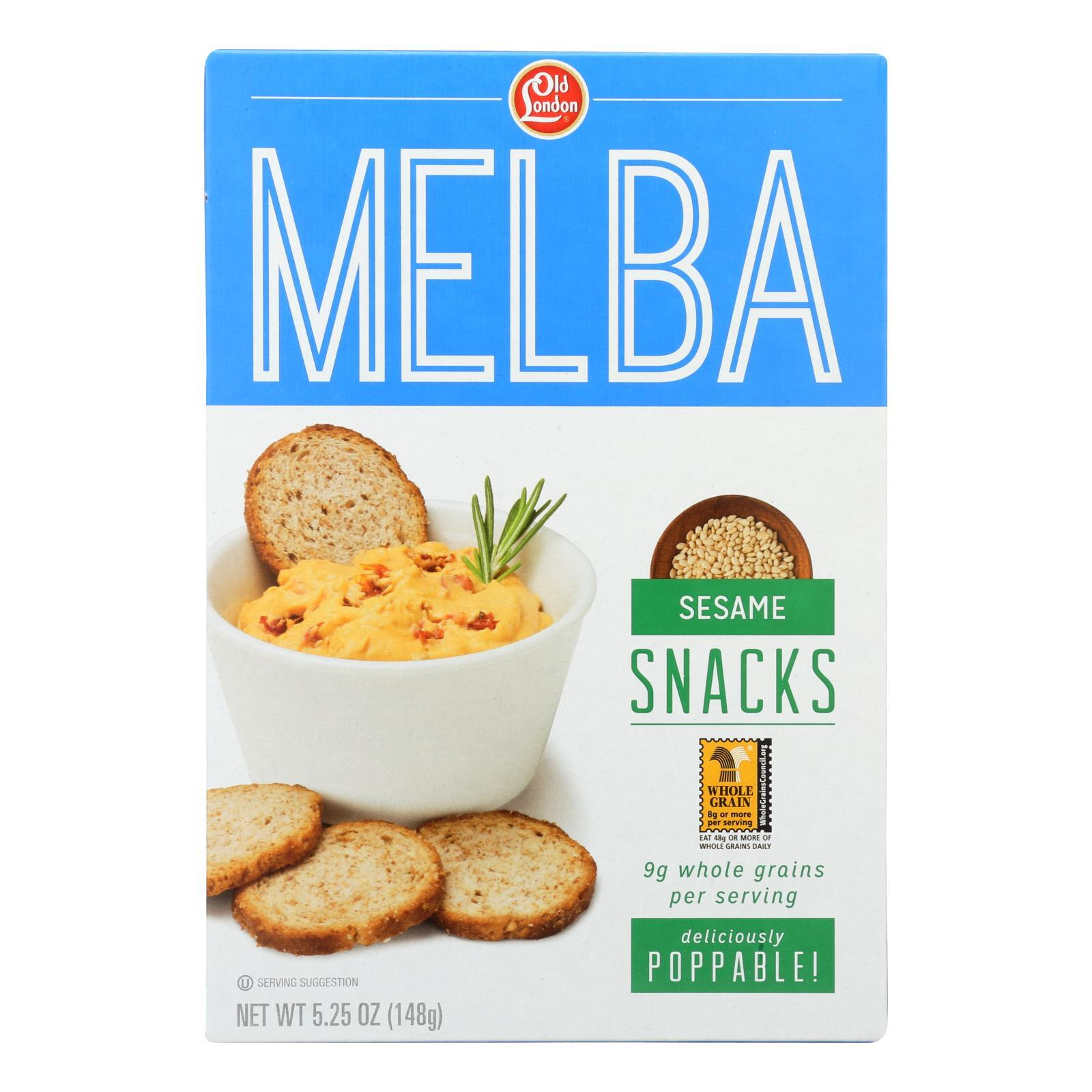 Old London Melba Snacks - Sesame - Case of 12 - 5.25 oz.