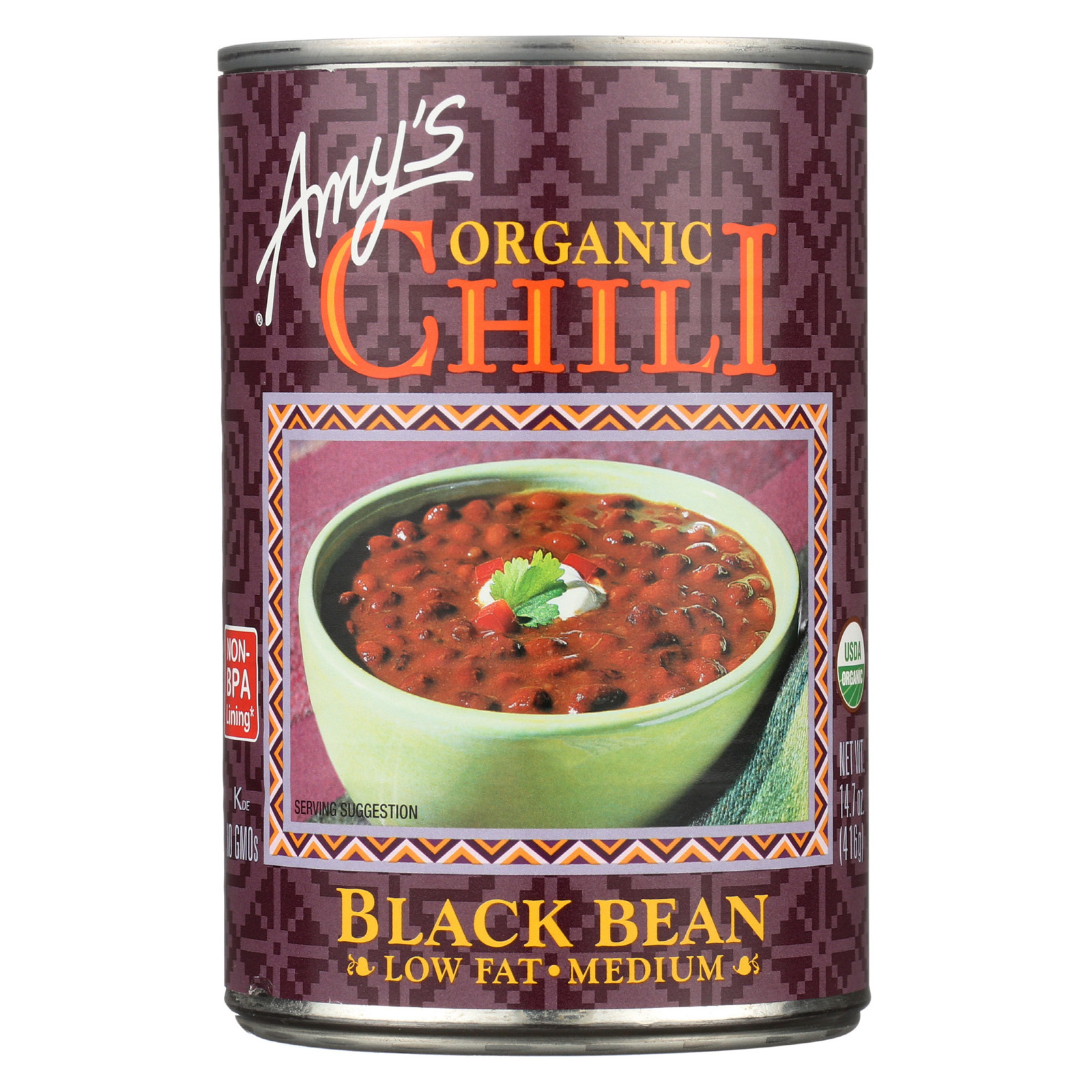 Amy's Organic Medium Black Bean Chili - Case of 12 - 14.7 oz