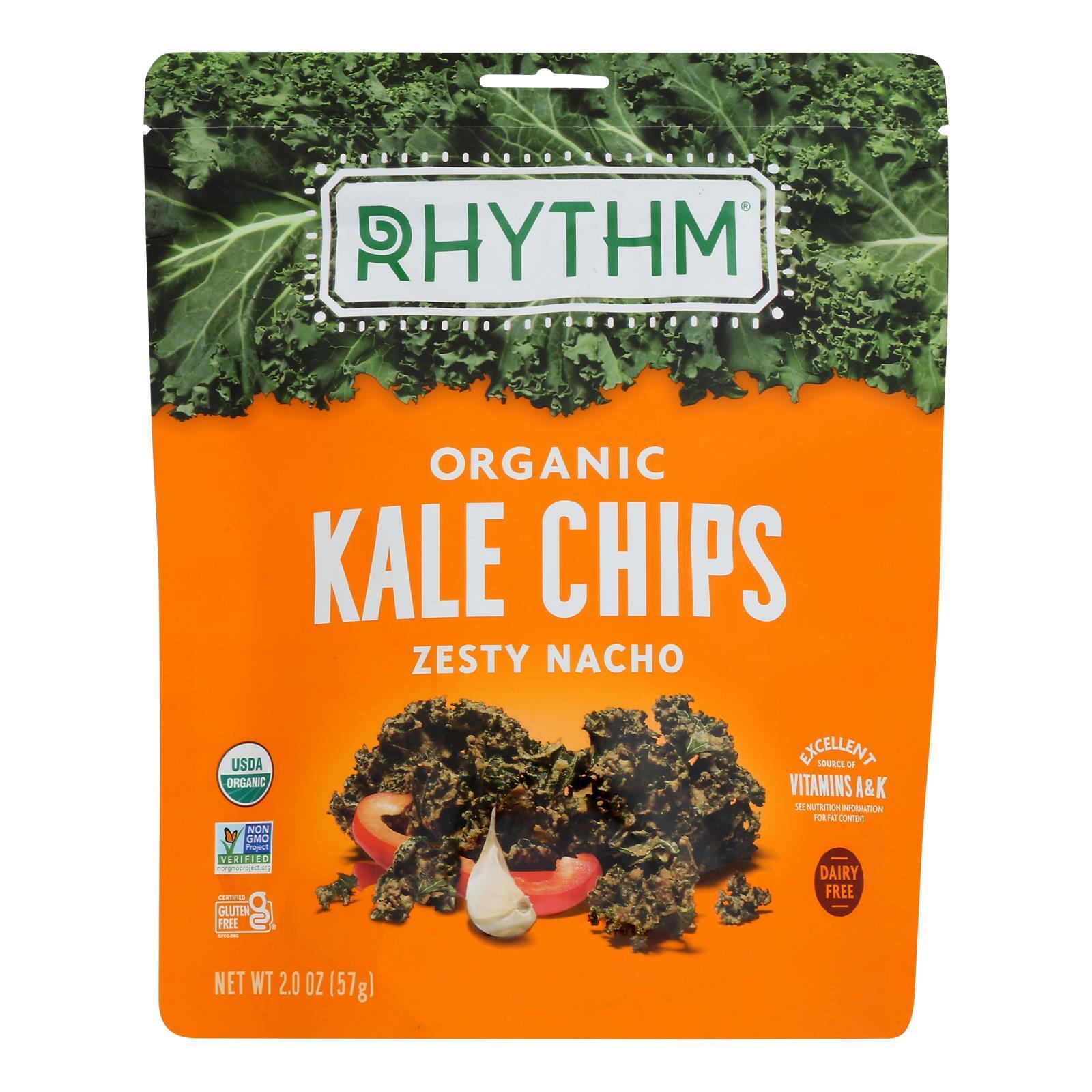 Rhythm Superfoods Kale Chips - Zesty Nacho - Case of 12 - 2 oz.
