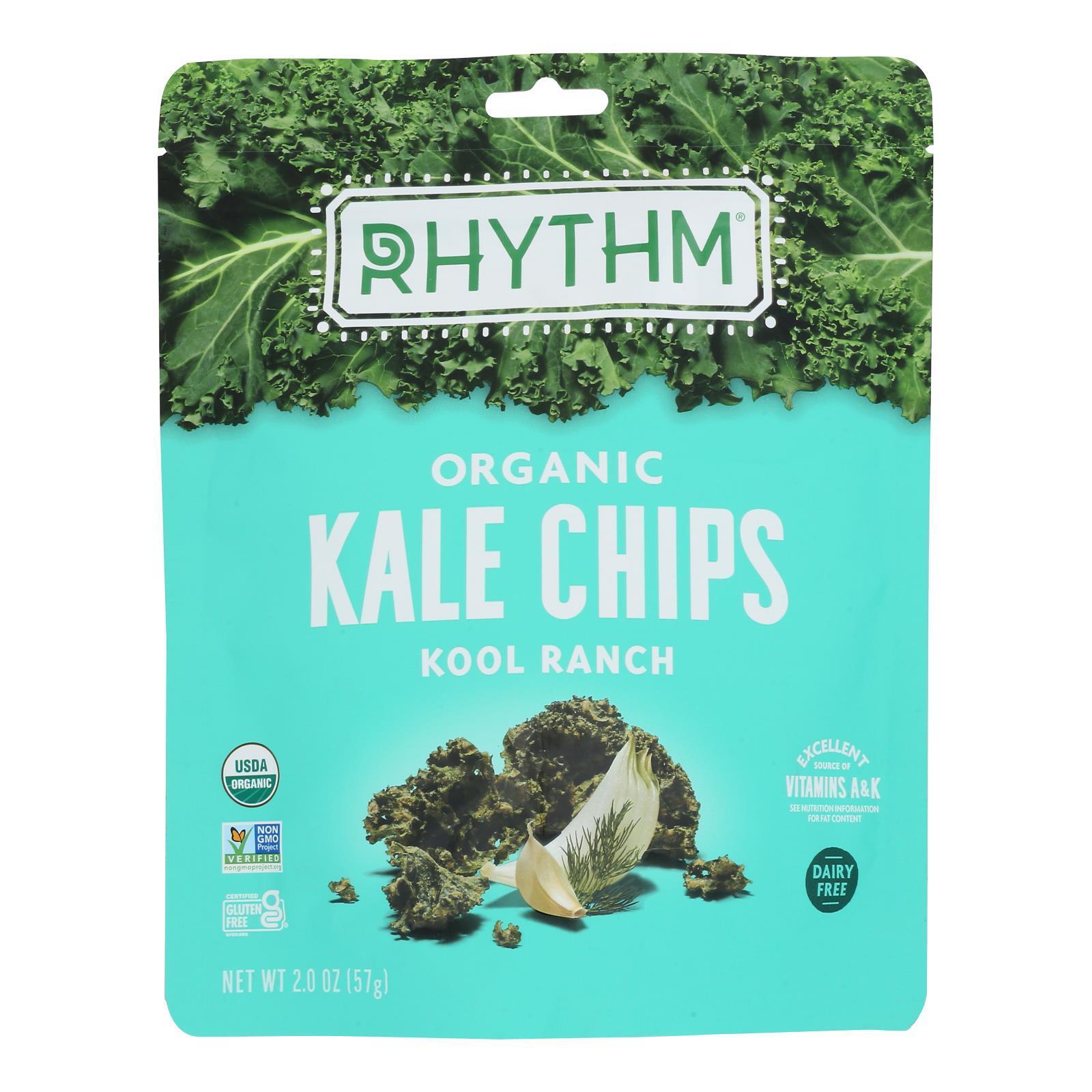 Rhythm Superfoods Kale Chips - Kool Ranch - Case of 12 - 2 oz.