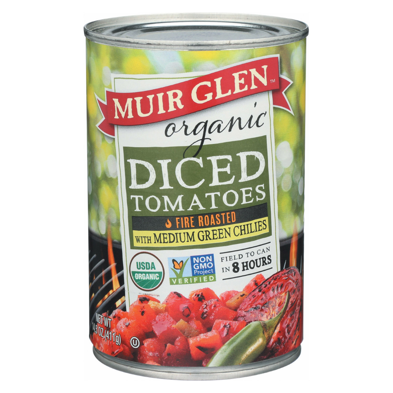 Muir Glen Fire Roasted Diced Tomatoes with Green Chilies - Green Chilies - Case of 12 - 14.5 oz.