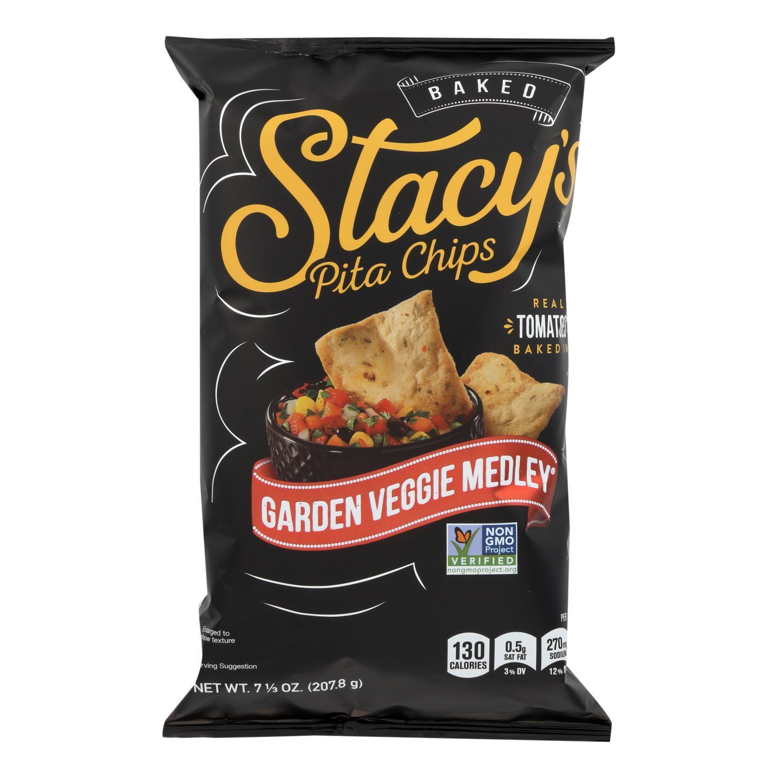 Stacy's Pita Chips Garden Veggie Medley Pita Chips - Veggie - Case of 12 - 7.33 oz.