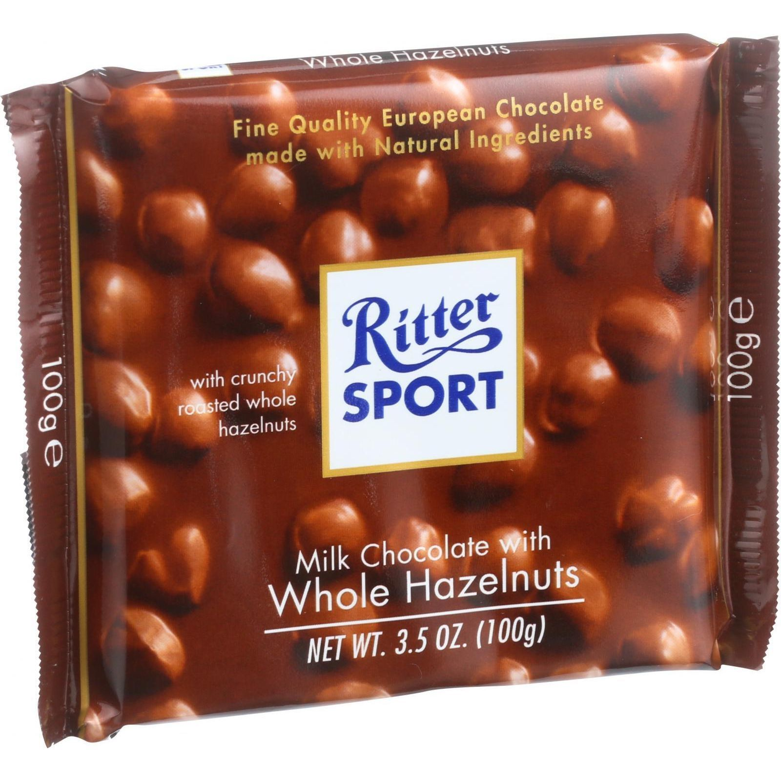 Ritter Sport Chocolate Bar - Milk Chocolate - Whole Hazelnuts - 3.5 oz Bars - Case of 10