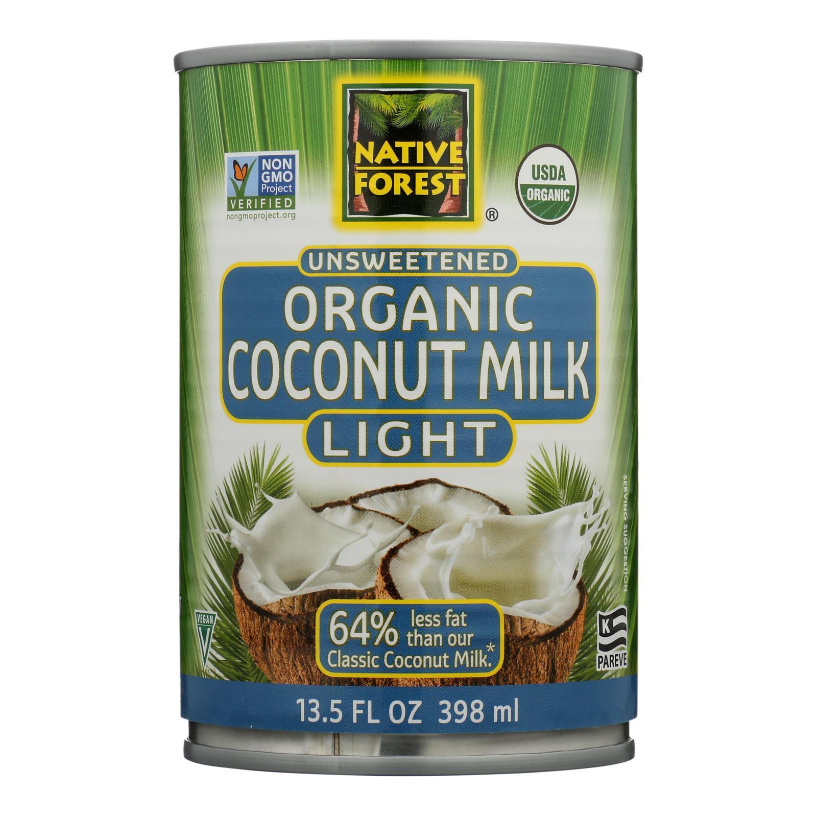 Native Forest Organic Light Milk - Coconut - Case of 12 - 13.5 Fl oz.
