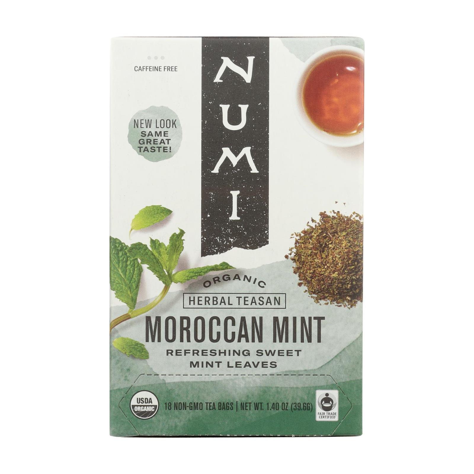 Numi Organic Tea Moroccan Mint - 18 Tea Bags - Case of 6