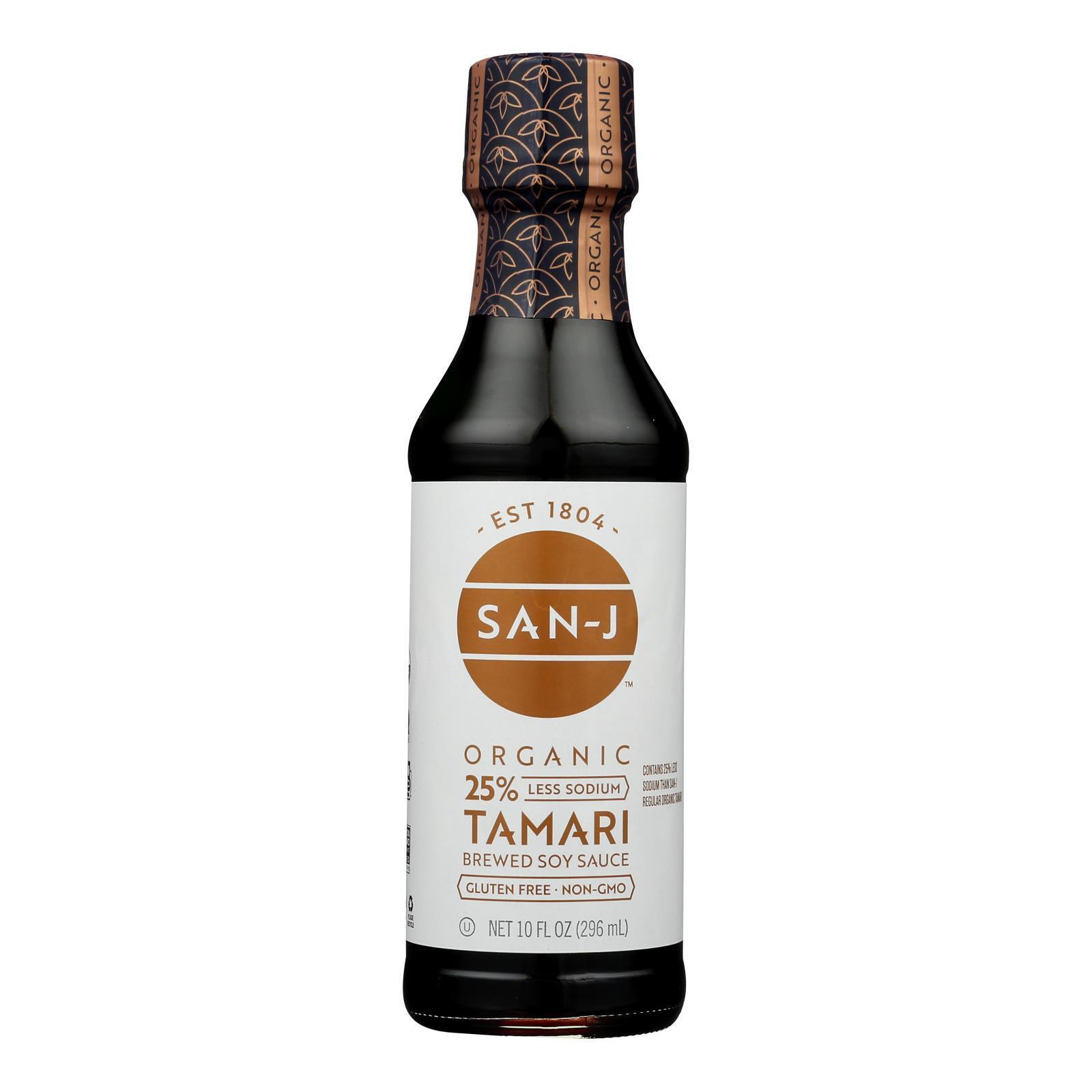 San - J Tamari Soy Sauce - Organic - Case of 6 - 10 Fl oz.
