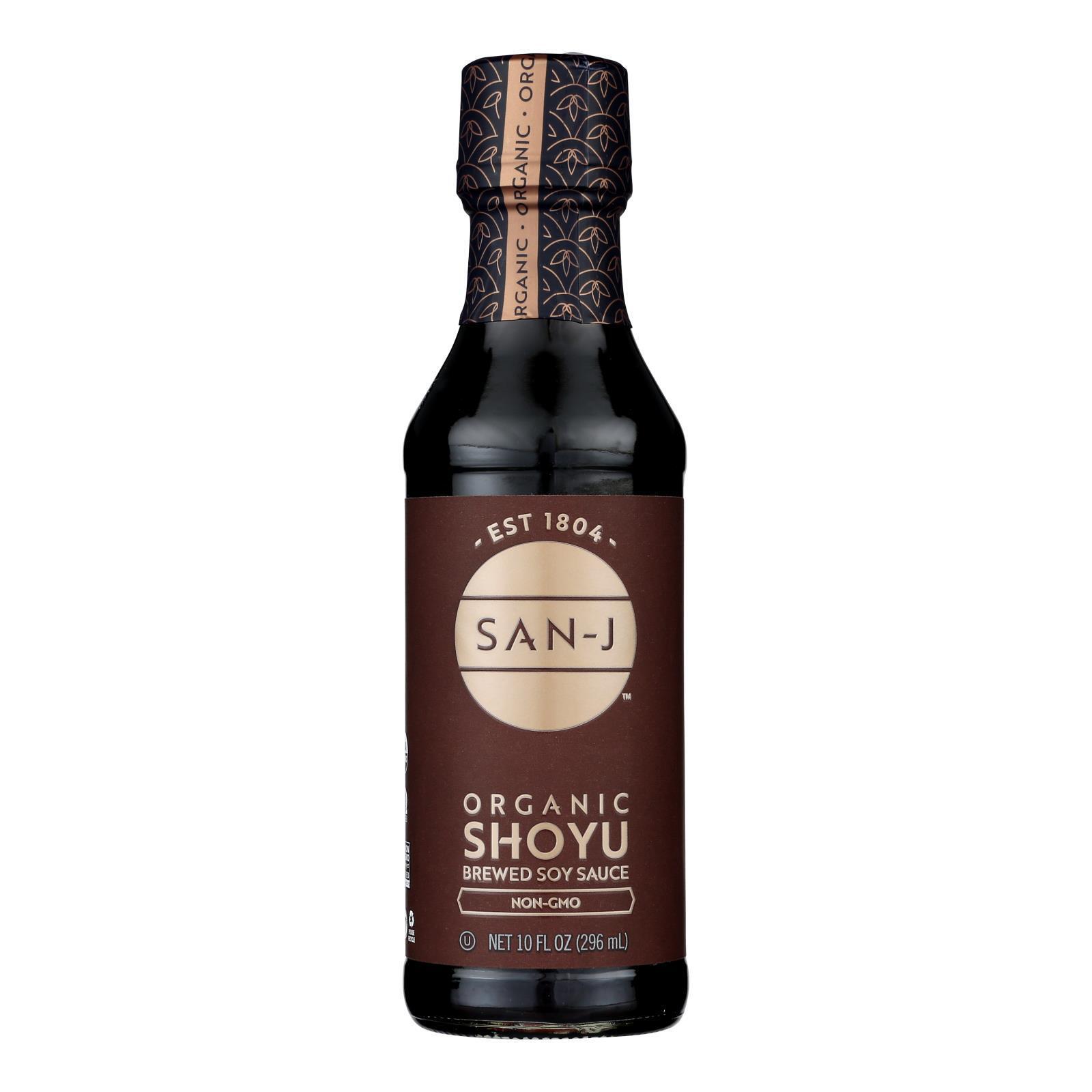 San - J Shoyu Soy Sauce - Organic - Case of 6 - 10 Fl oz.