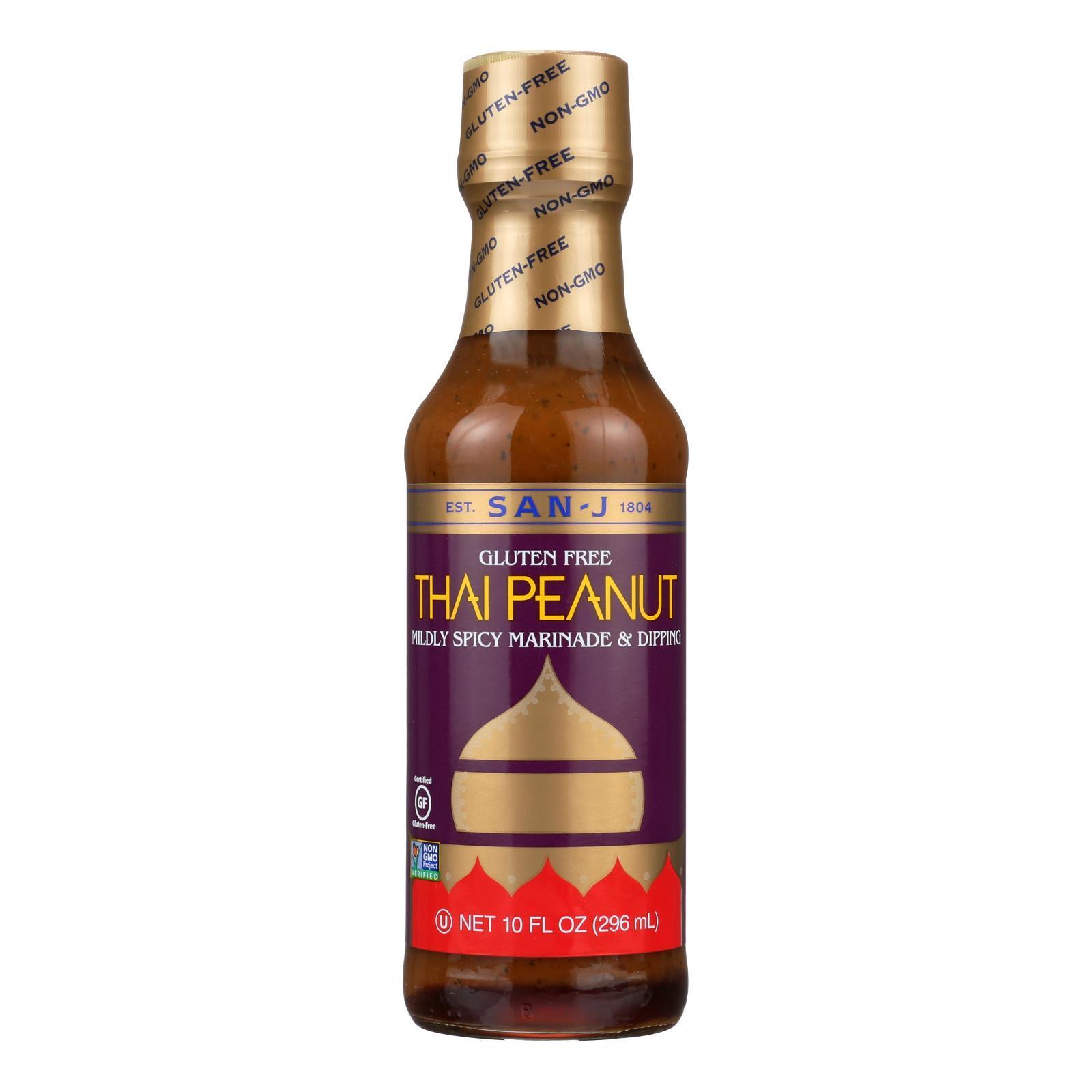 San - J Cooking Sauce - Thai Peanut - Case of 6 - 10 Fl oz.