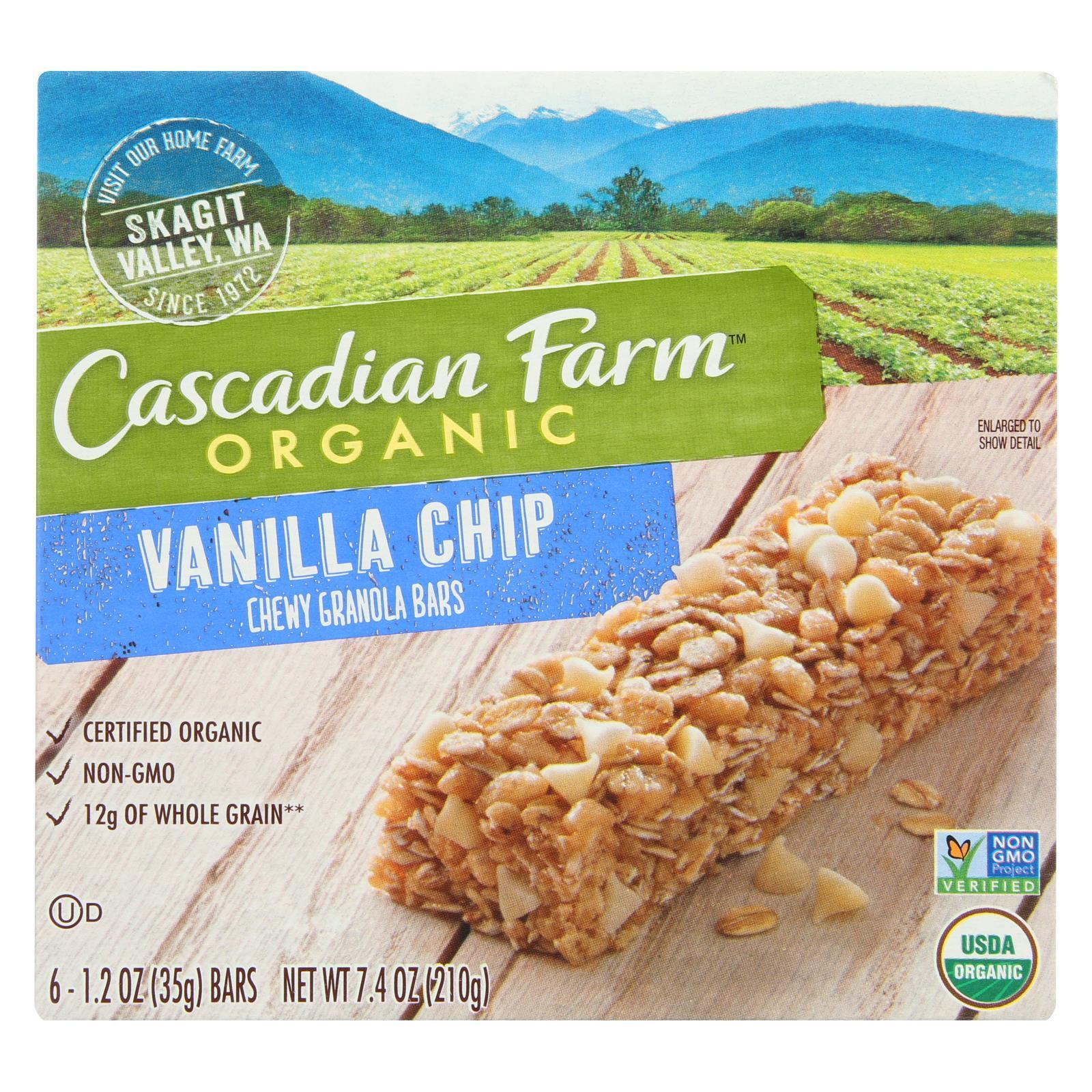 Cascadian Farm Organic Chewy Granola Bars - Vanilla Chip - Case of 12 - 7.4 oz.
