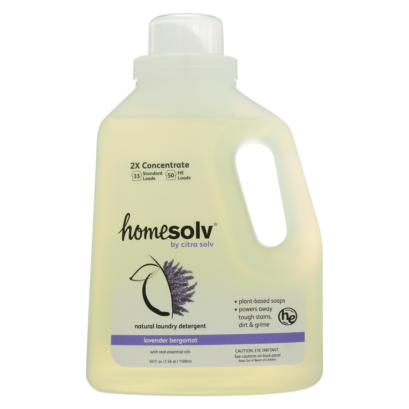 Citra-Solv Natural Laundry Detergent 2X Concentrate Liquid - Lavender Bergamot - Case of 6 - 50 Fl oz.