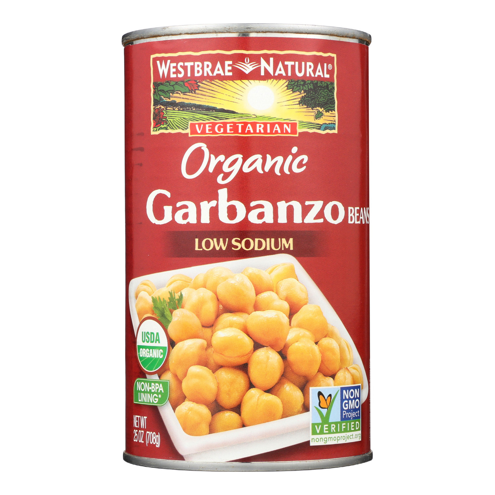 Westbrae Foods Organic Garbanzo Beans - Case of 12 - 25 oz.