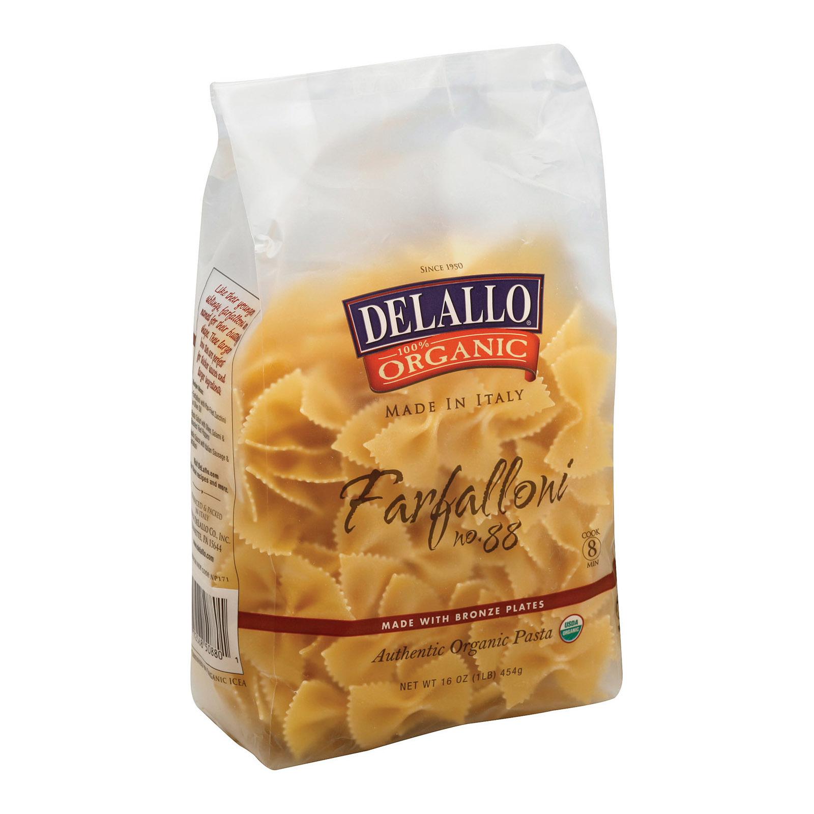 Delallo Organic Farfalloni Pasta - Case of 16 - 1 lb.