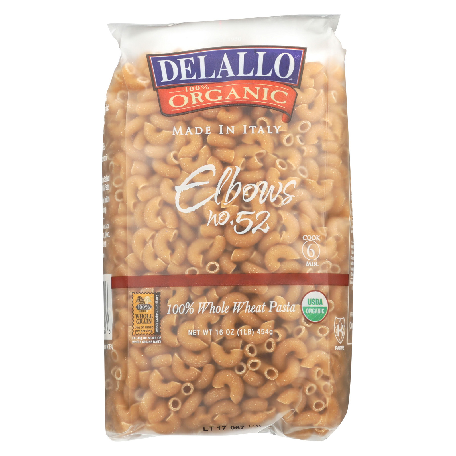 Delallo 100% Organic Whole Wheat #52 Elbows - Case of 16 - 1 lb.