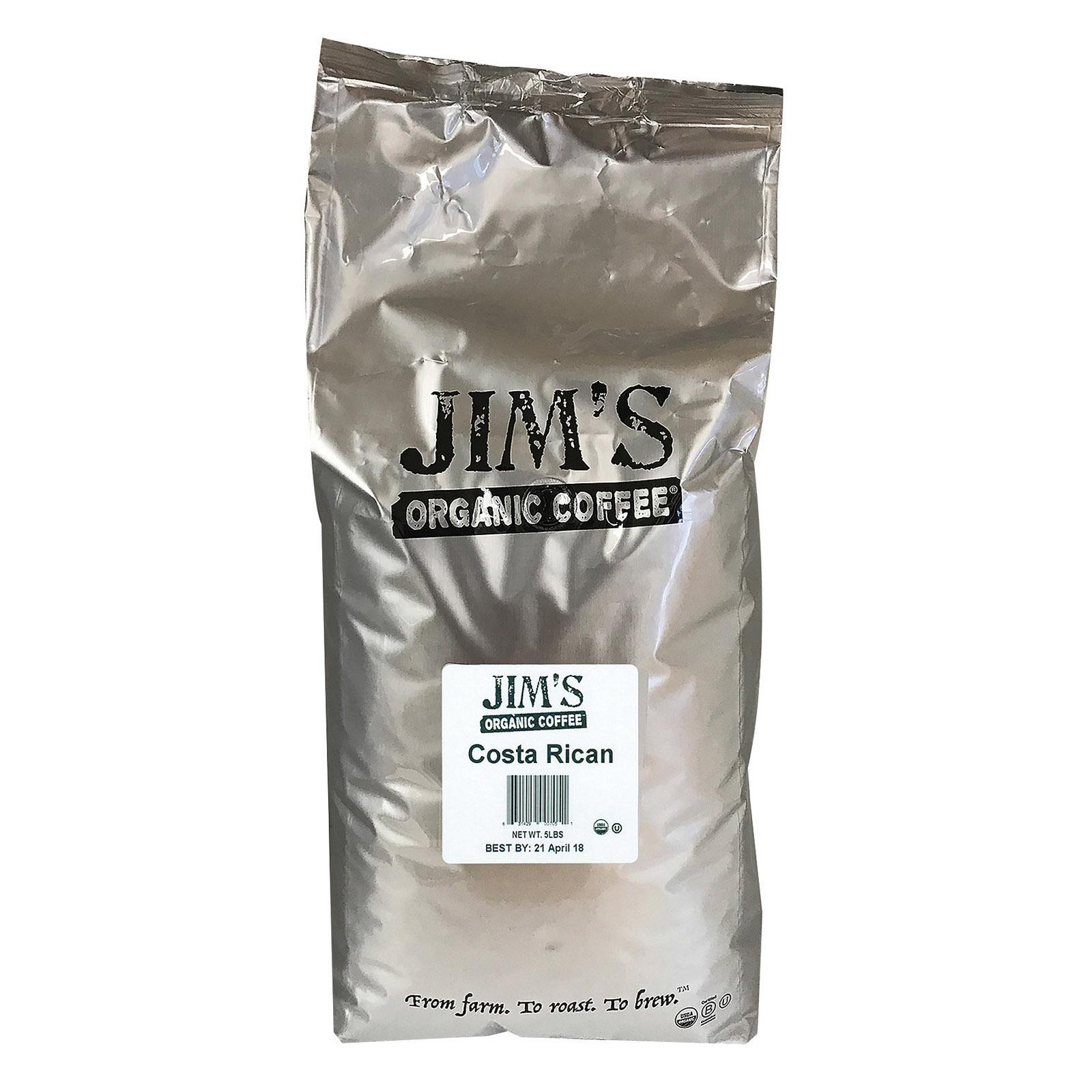 Jim's Organic Coffee - Whole Bean - Costa Rican - Bulk - 5 lb.