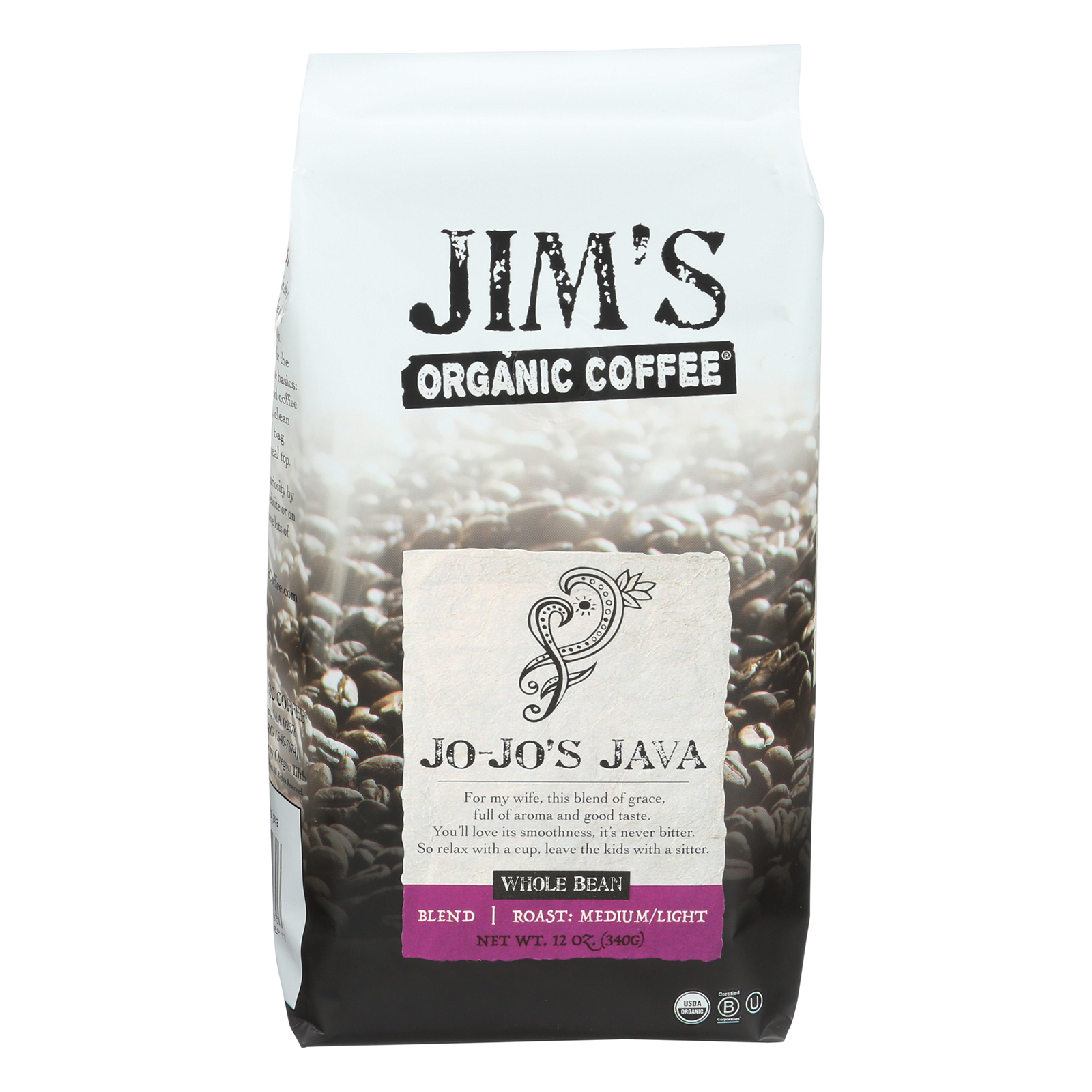 Jim's Organic Coffee - Whole Bean - Jo Jo's Java - Case of 6 - 12 oz.