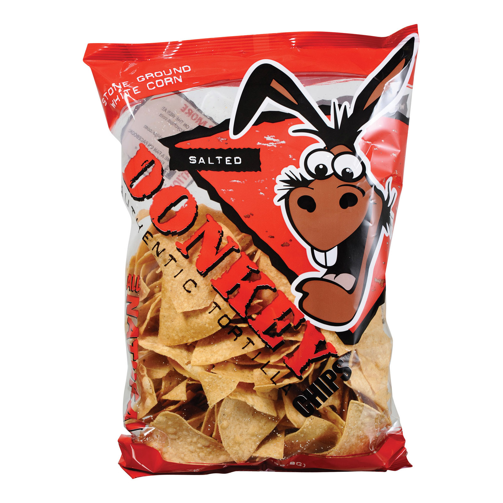 Donkey Chips Salted Tortilla Chips - Case of 12 - 14 oz.