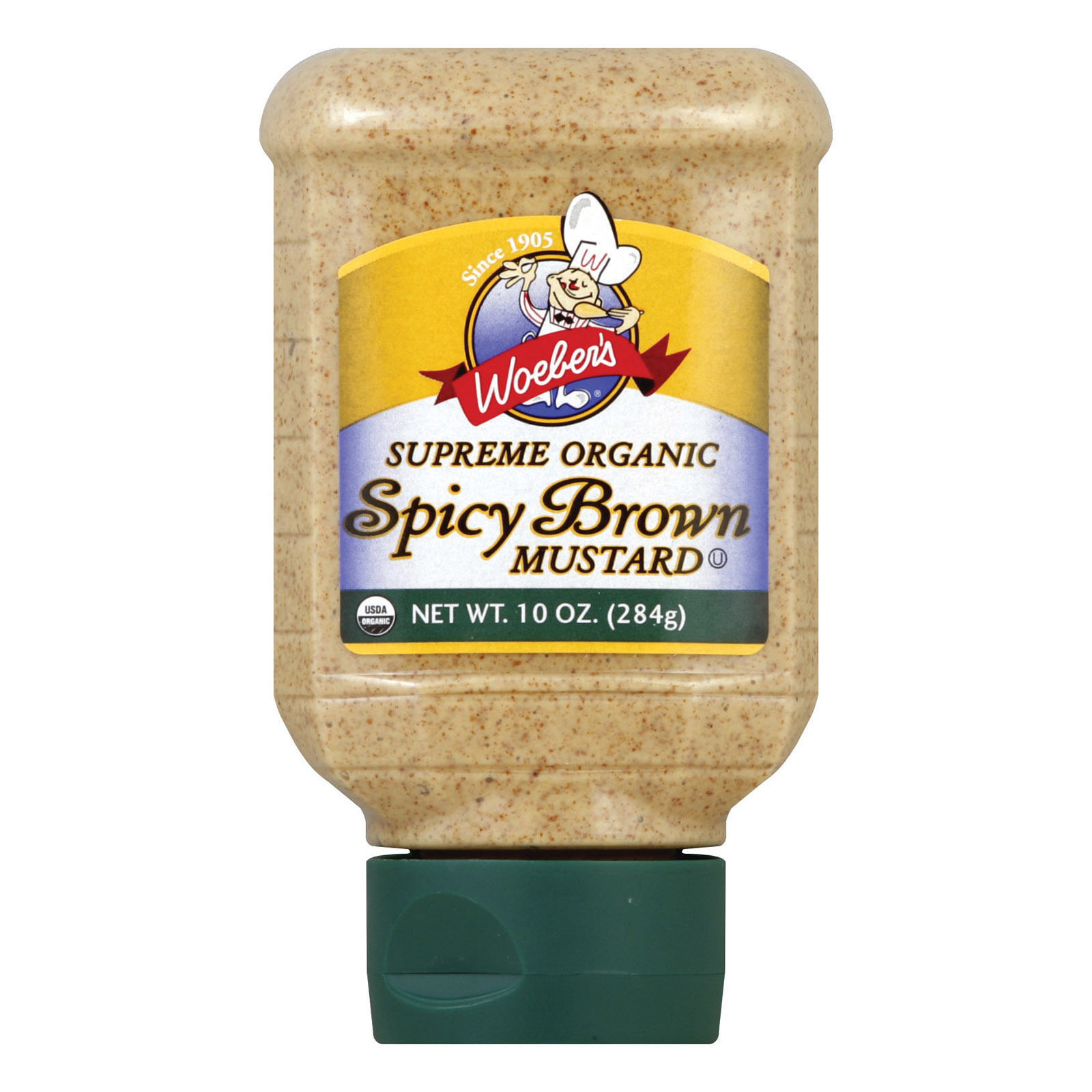 Woeber's Supreme Organic Spicy Brown Mustard - Case of 6 - 10 oz.