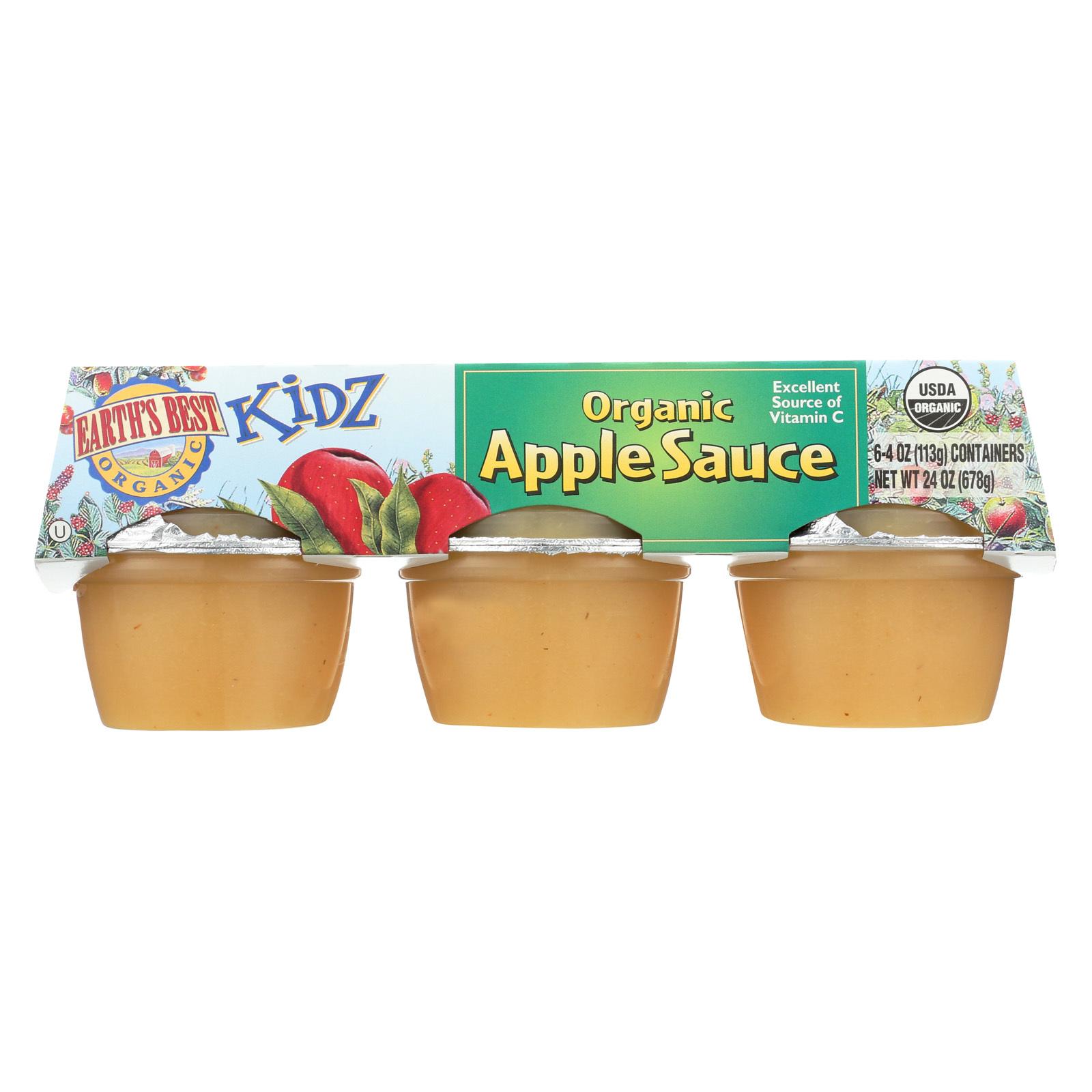 Earth's Best Kidz Organic Apple Sauce Cups - Case of 12 - 4 oz.