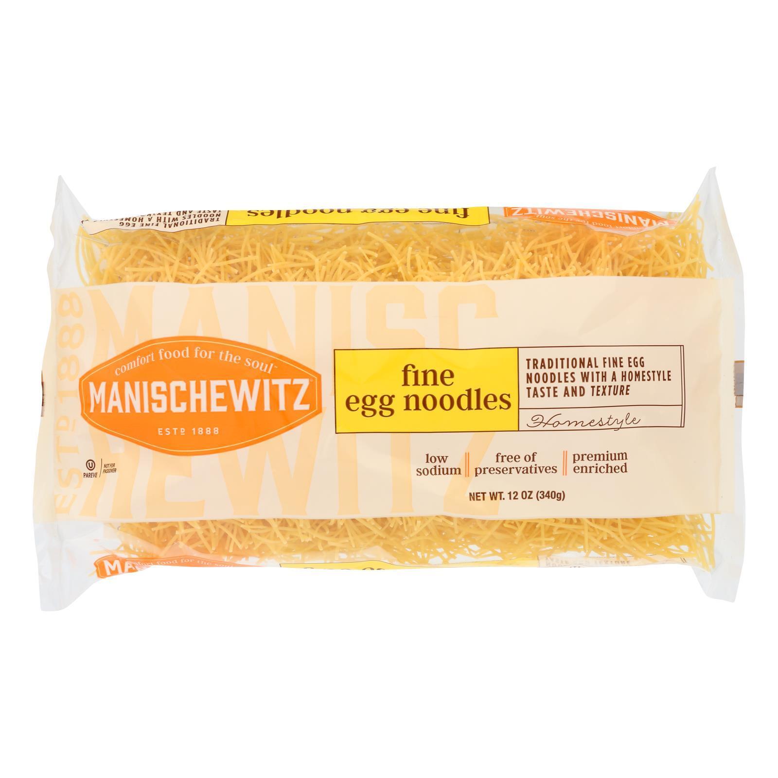 Manischewitz Fine Egg Noodles - Case of 12 - 12 oz.