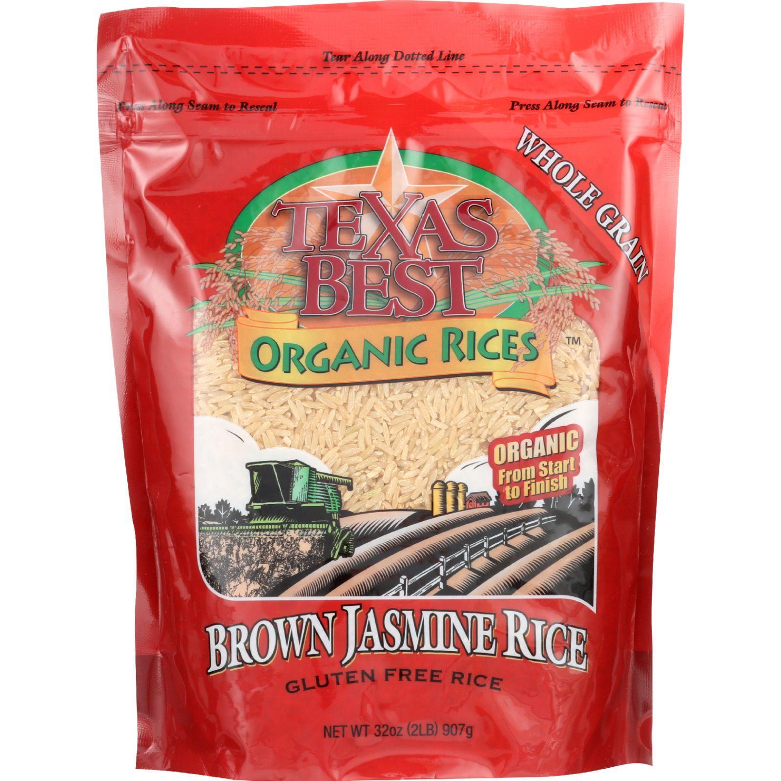 Texas Best Organics Rice - Organic - Jasmine Brown - 32 oz - case of 6