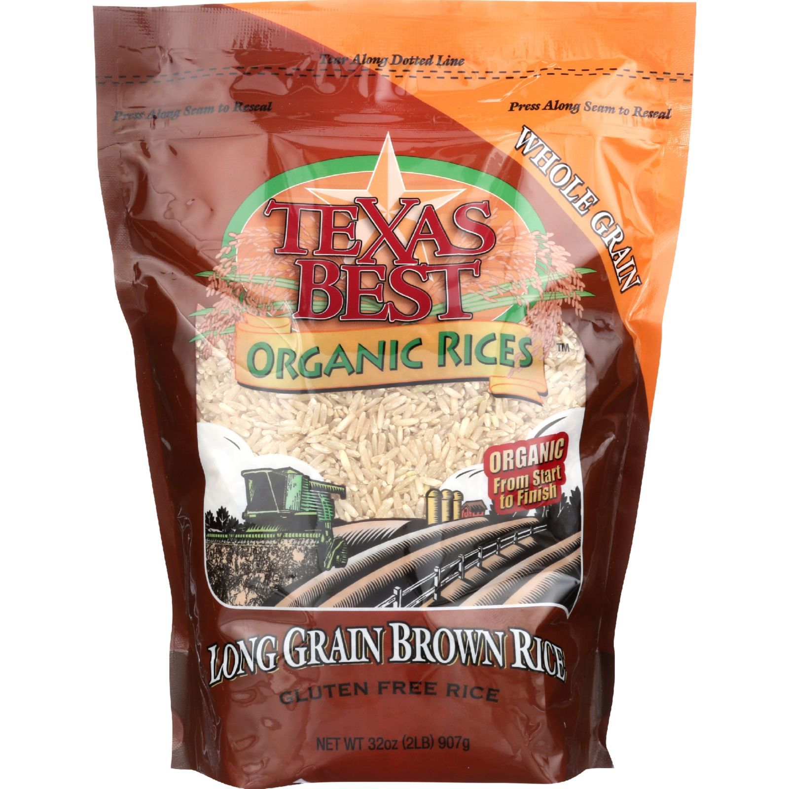 Texas Best Organics Rice - Organic - Long Grain Brown - 32 oz - case of 6