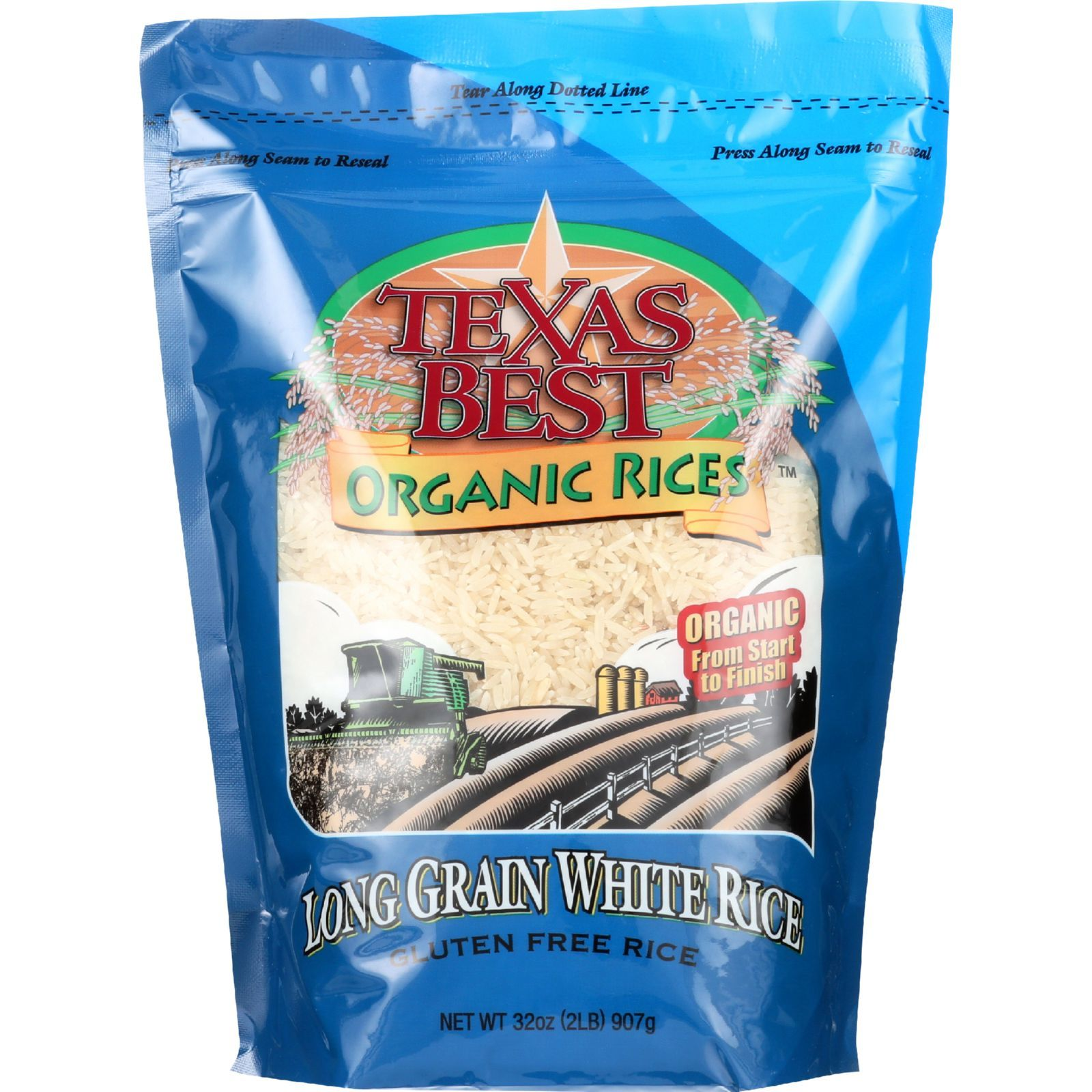 Texas Best Organics Rice - Organic - Long Grain White - 32 oz - case of 6