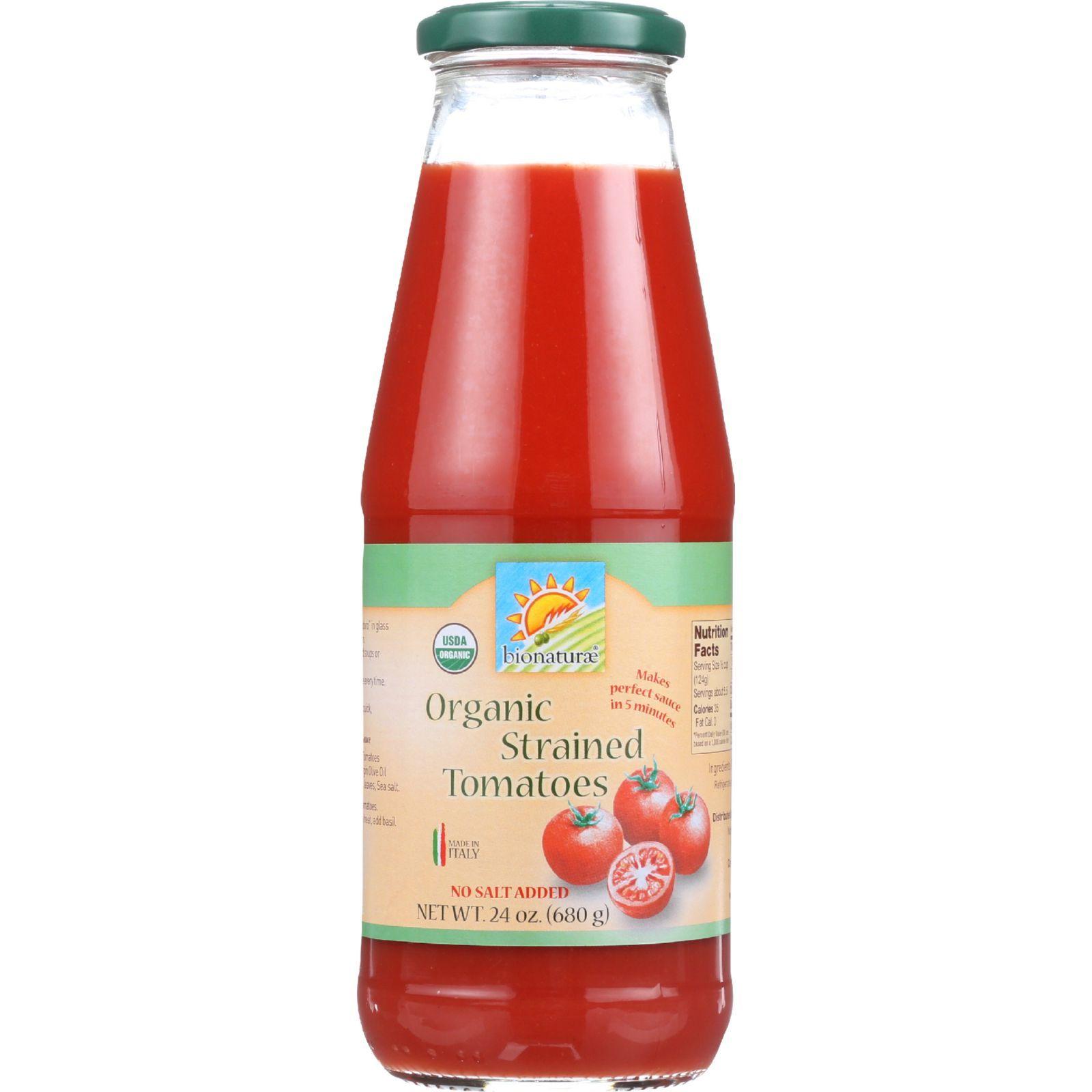 Bionaturae Tomatoes - Organic - Strained - 24 oz - case of 6