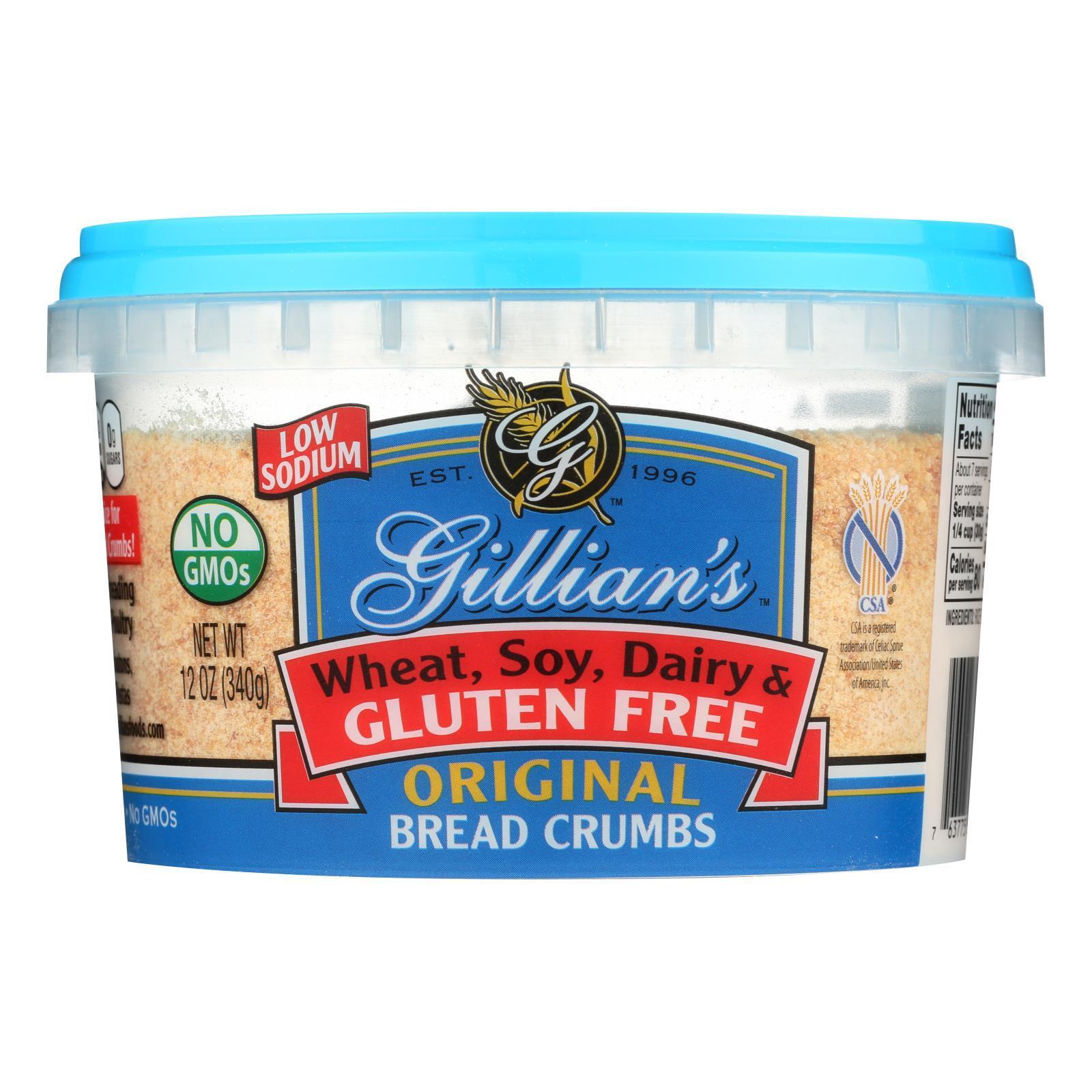 Gillian's Food Plain Bread Crumbs - Original - Case of 12 - 12 oz.