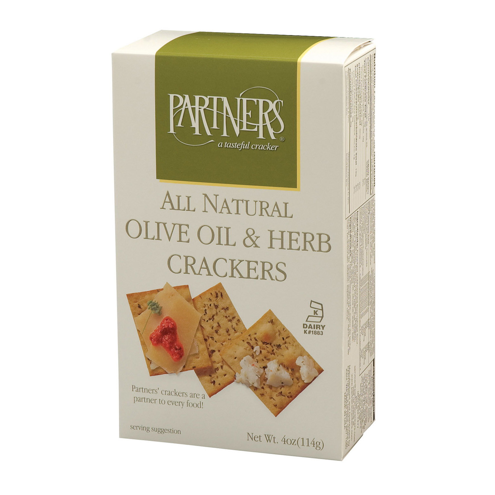 Partners Snack Crackers - Olive Oil and Herb - Case of 6 - 4 oz.